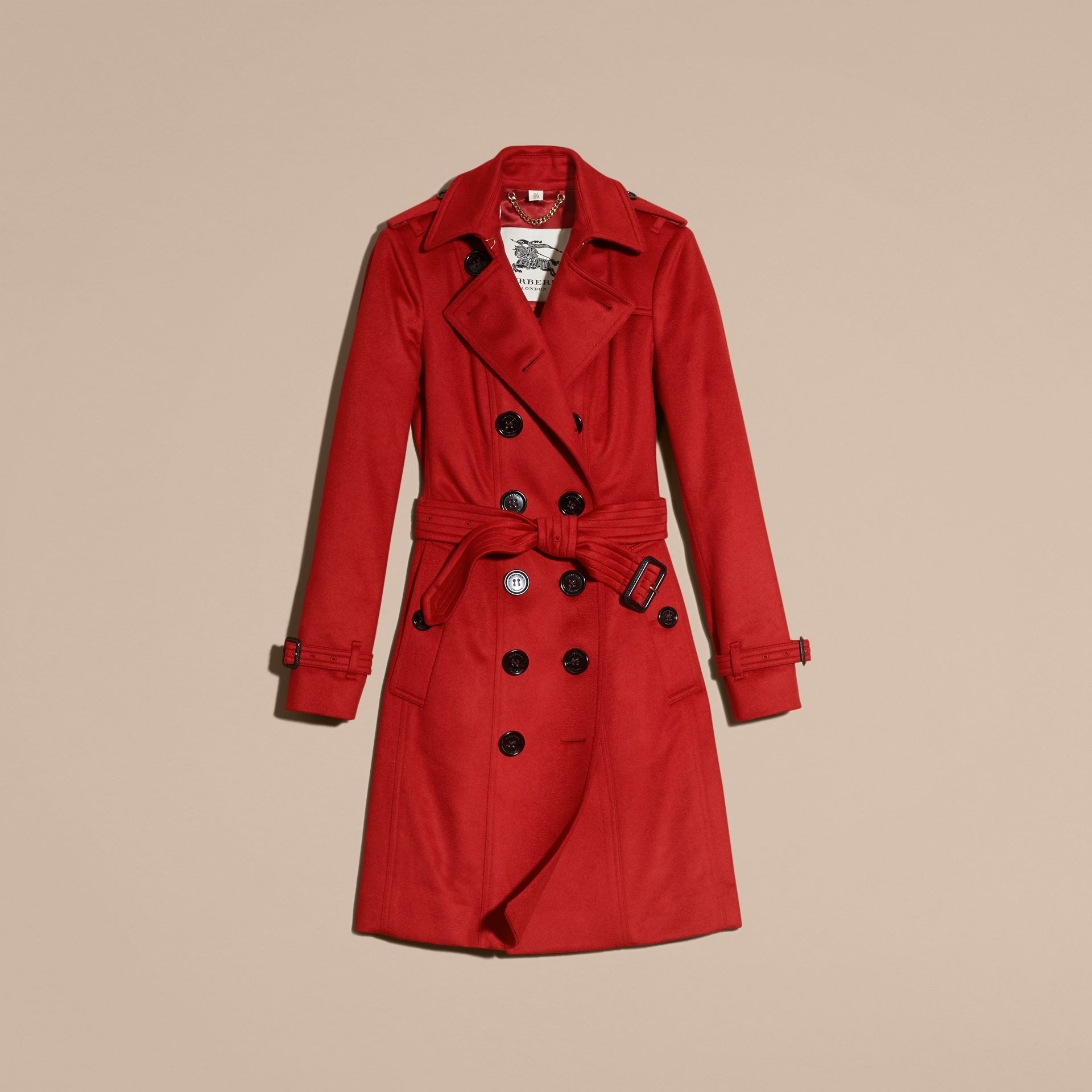 Sandringham Fit Cashmere Trench Coat Parade Red - gallery image 4
