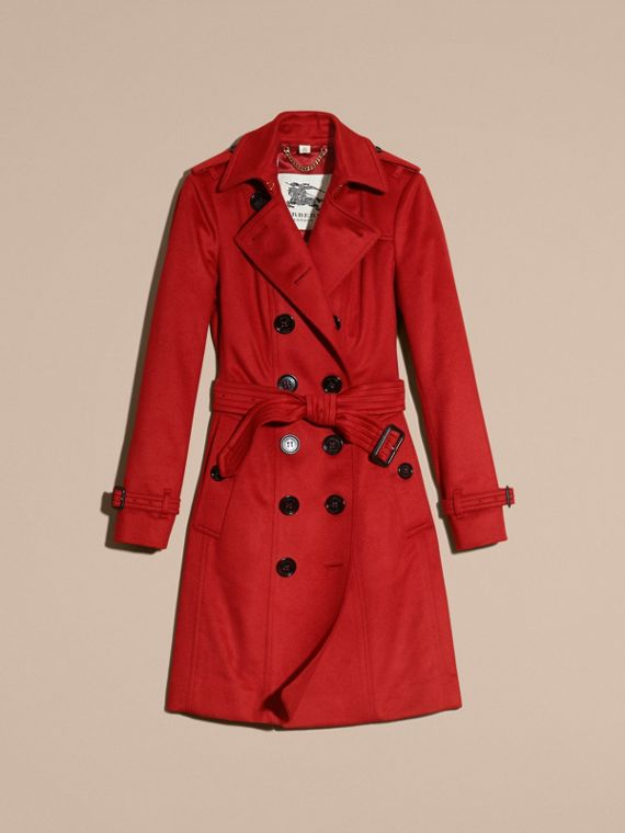 Sandringham Fit Cashmere Trench Coat in Parade Red - cell image 3