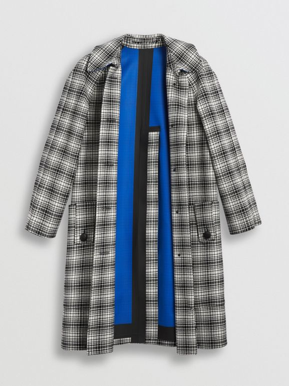 Check Wool Tailored Coat in Black/white - Women | Burberry Australia - cell image 1