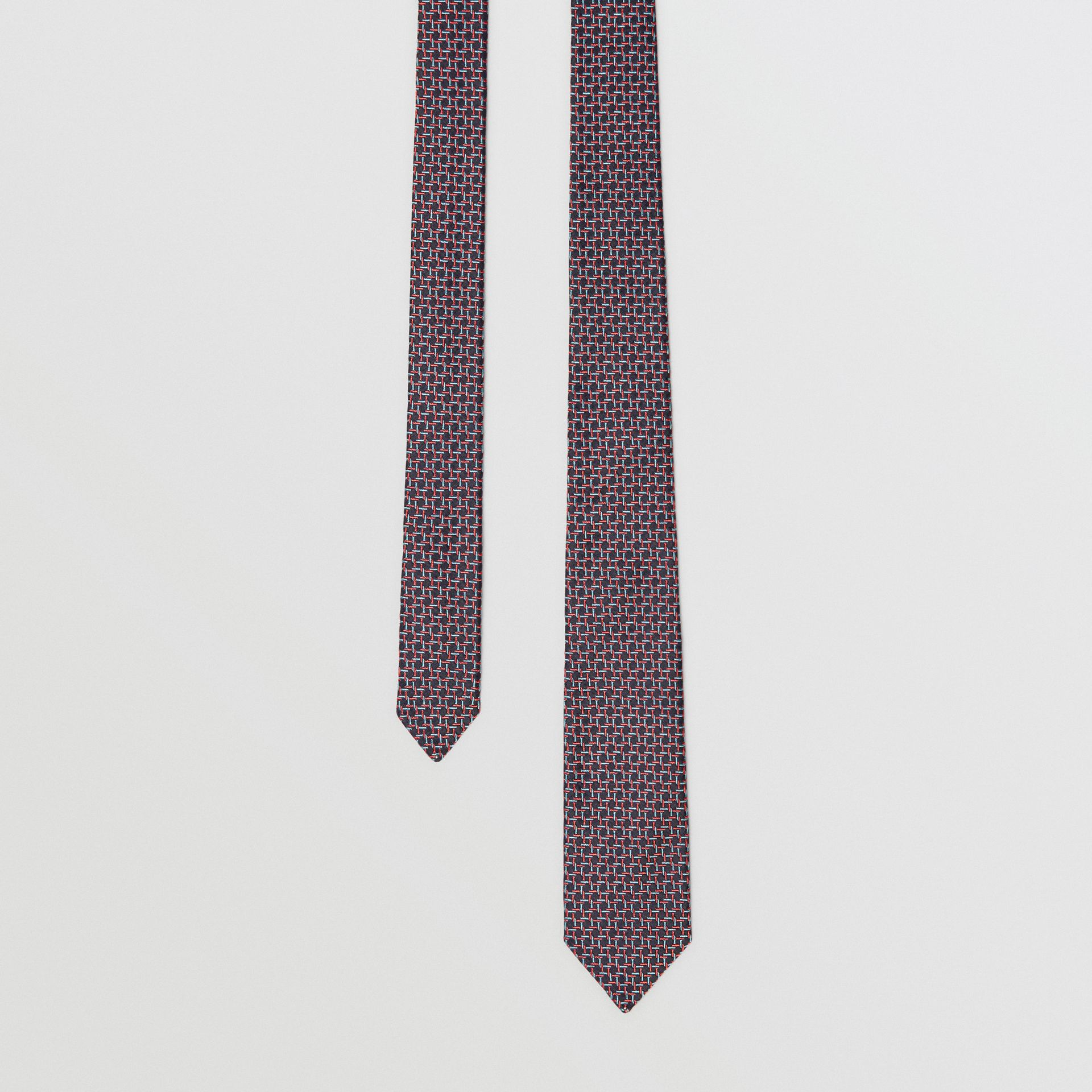 Slim Cut Micro Check Silk Jacquard Tie in Dark Navy - Men | Burberry United Kingdom - gallery image 0