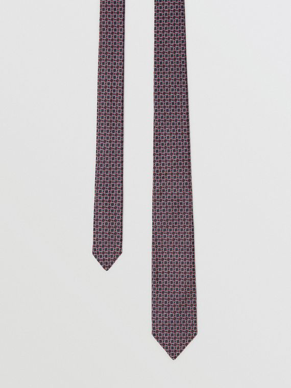 Slim Cut Micro Check Silk Jacquard Tie in Dark Navy