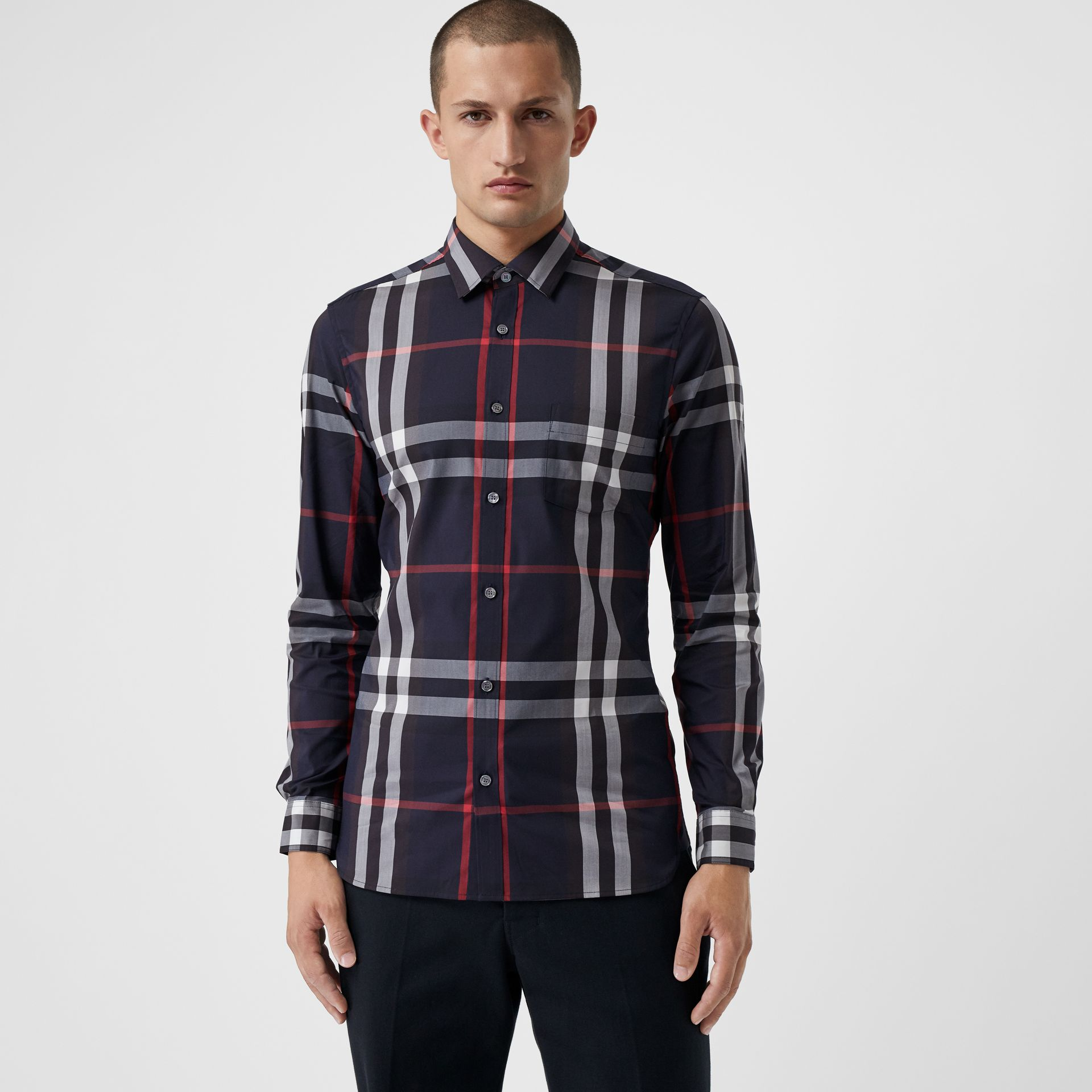 Check Stretch Cotton Shirt in Navy - Men | Burberry United Kingdom - gallery image 0