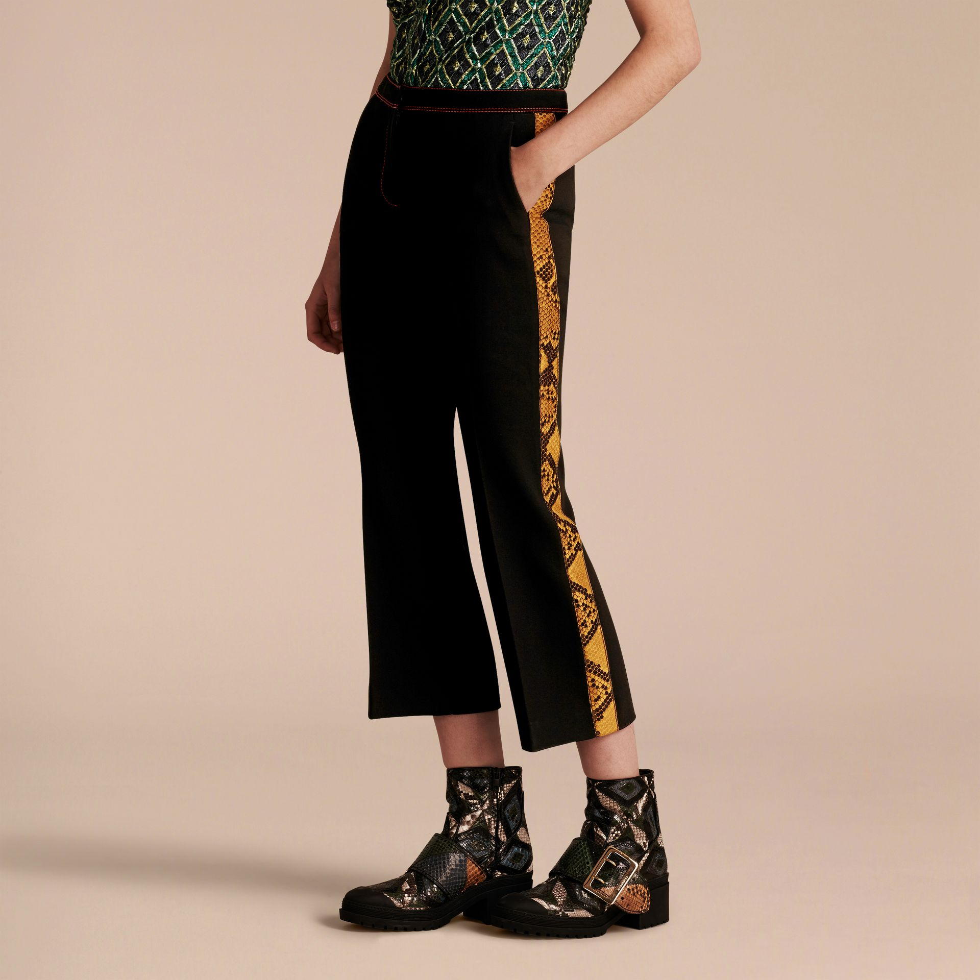 Black Python Print Trim Cropped Tailored Trousers - gallery image 7