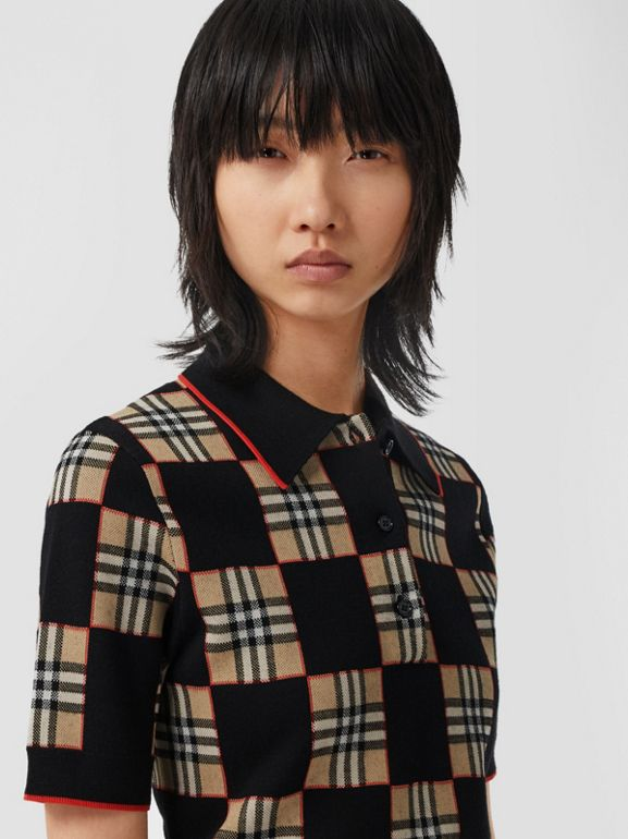 Chequer Merino Wool Blend Jacquard Polo Shirt in Black/archive Beige - Women | Burberry Hong Kong S.A.R - cell image 1