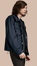 Hooded Technical Blouson with Lambskin Trim
