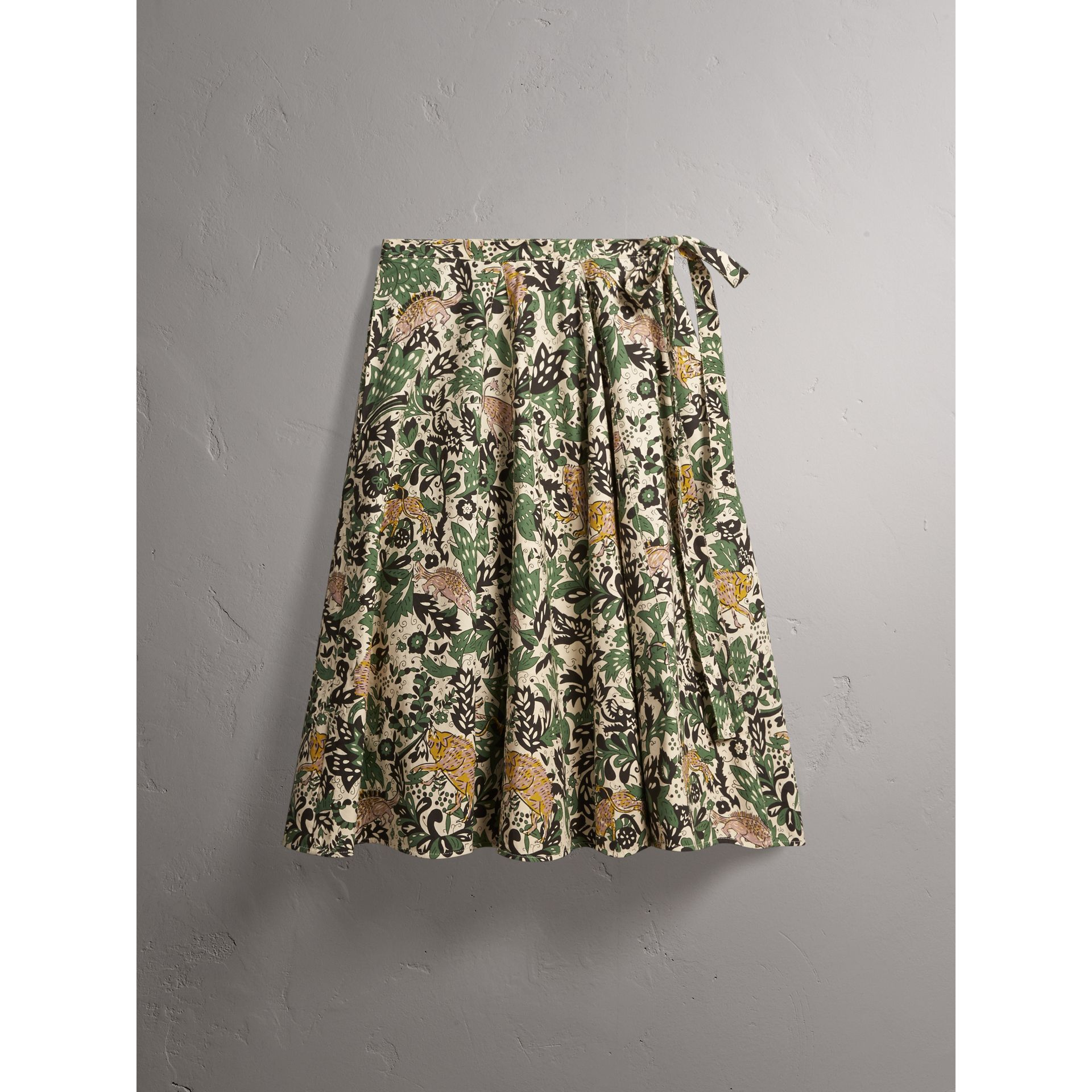 Beasts Print Cotton Wrap Skirt - Women | Burberry - gallery image 4