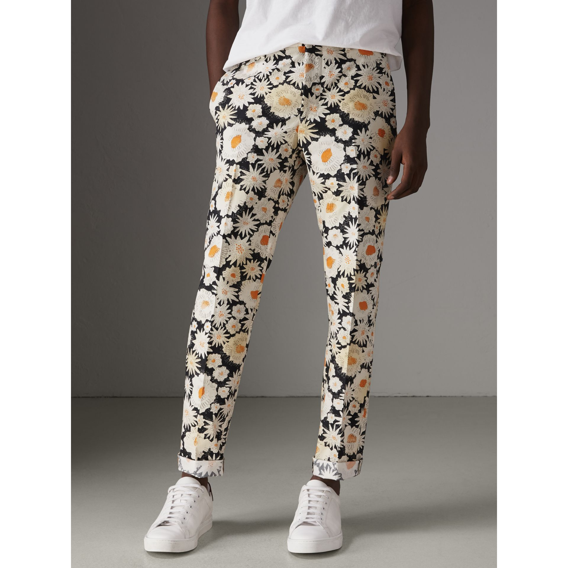 Daisy Print Cotton Tailored Trousers in Black - Men | Burberry - gallery image 4