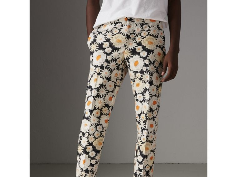 Daisy Print Cotton Tailored Trousers in Black - Men | Burberry - cell image 4