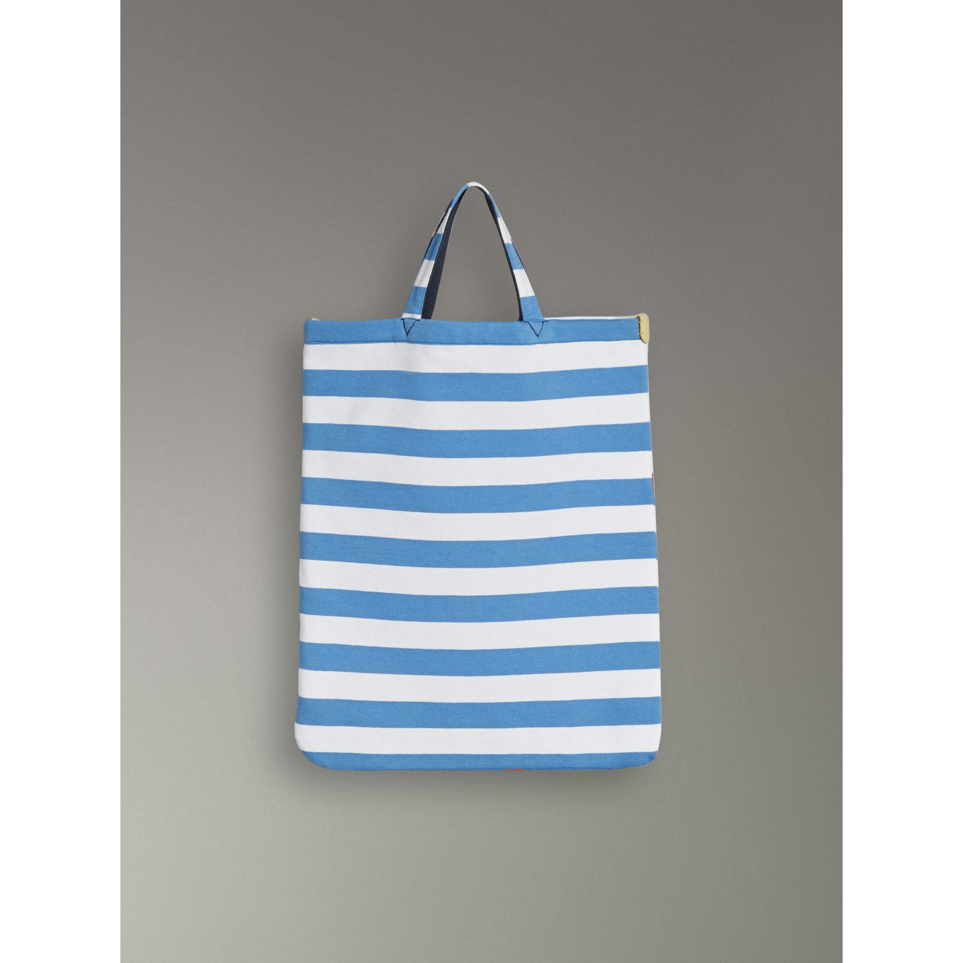 Medium Archive Logo Striped Jersey Shopper in Sky Blue/white | Burberry Australia - gallery image 2
