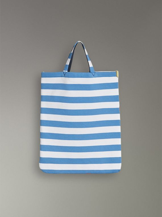 Medium Archive Logo Striped Jersey Shopper in Sky Blue/white | Burberry Hong Kong - cell image 2