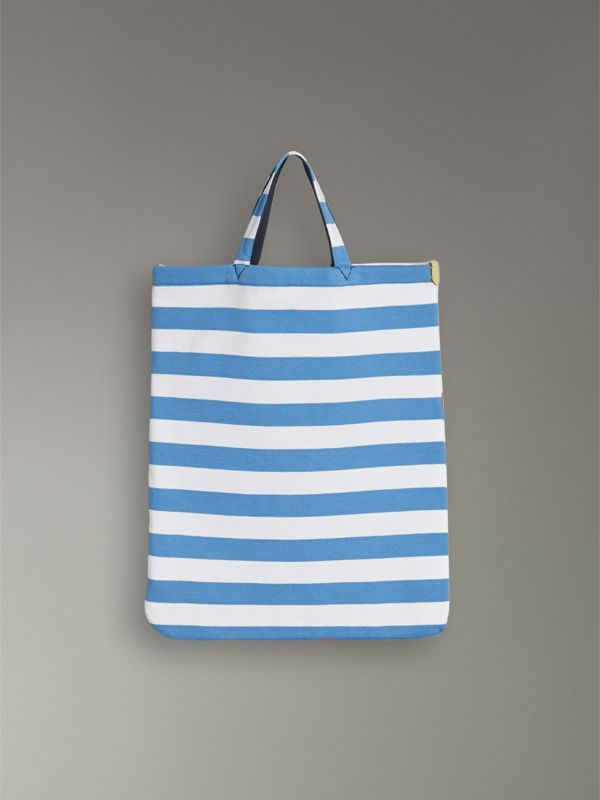 Medium Archive Logo Striped Jersey Shopper in Sky Blue/white | Burberry Australia - cell image 2