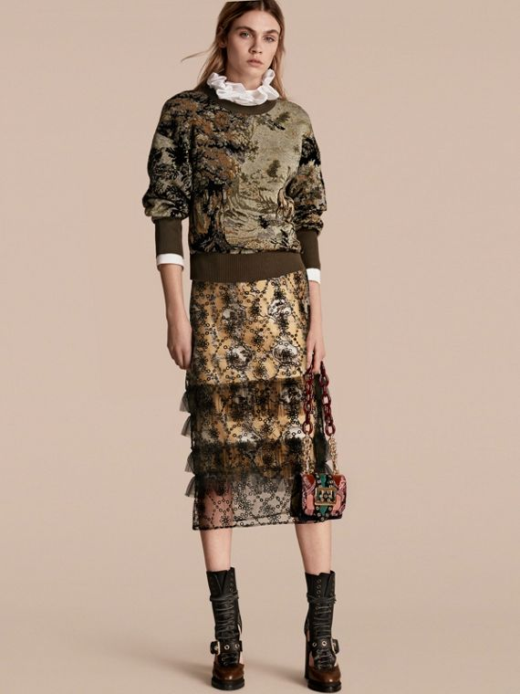 Tapestry Jacquard Silk Blend Sweatshirt