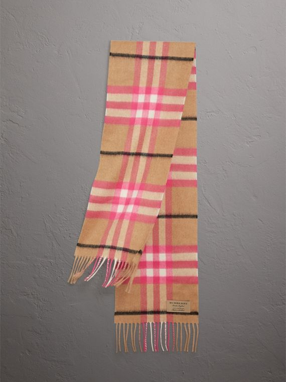 The Mini Classic Check Cashmere Scarf in Bright Peony