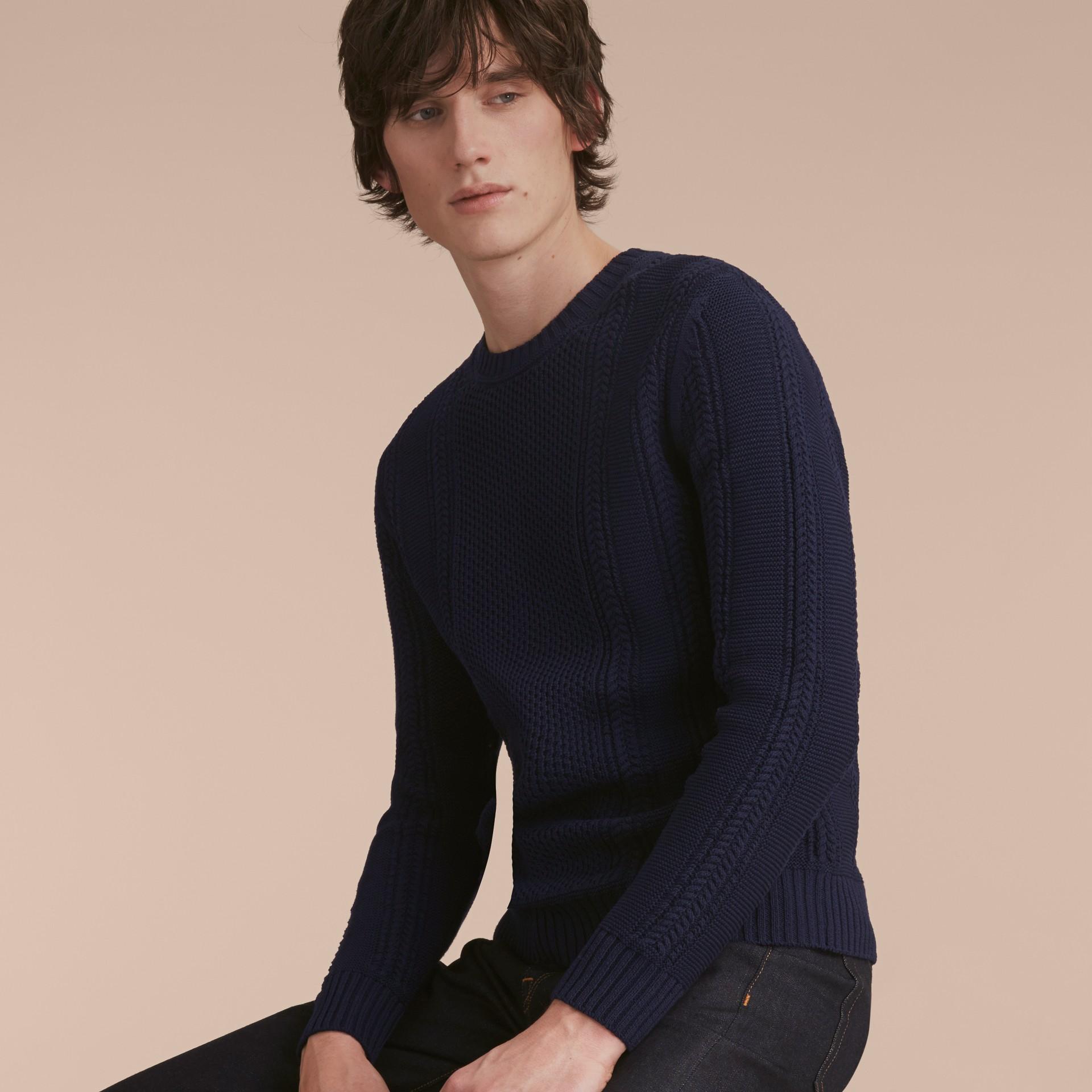Zip Detail Aran Knit Cotton Sweater - gallery image 6