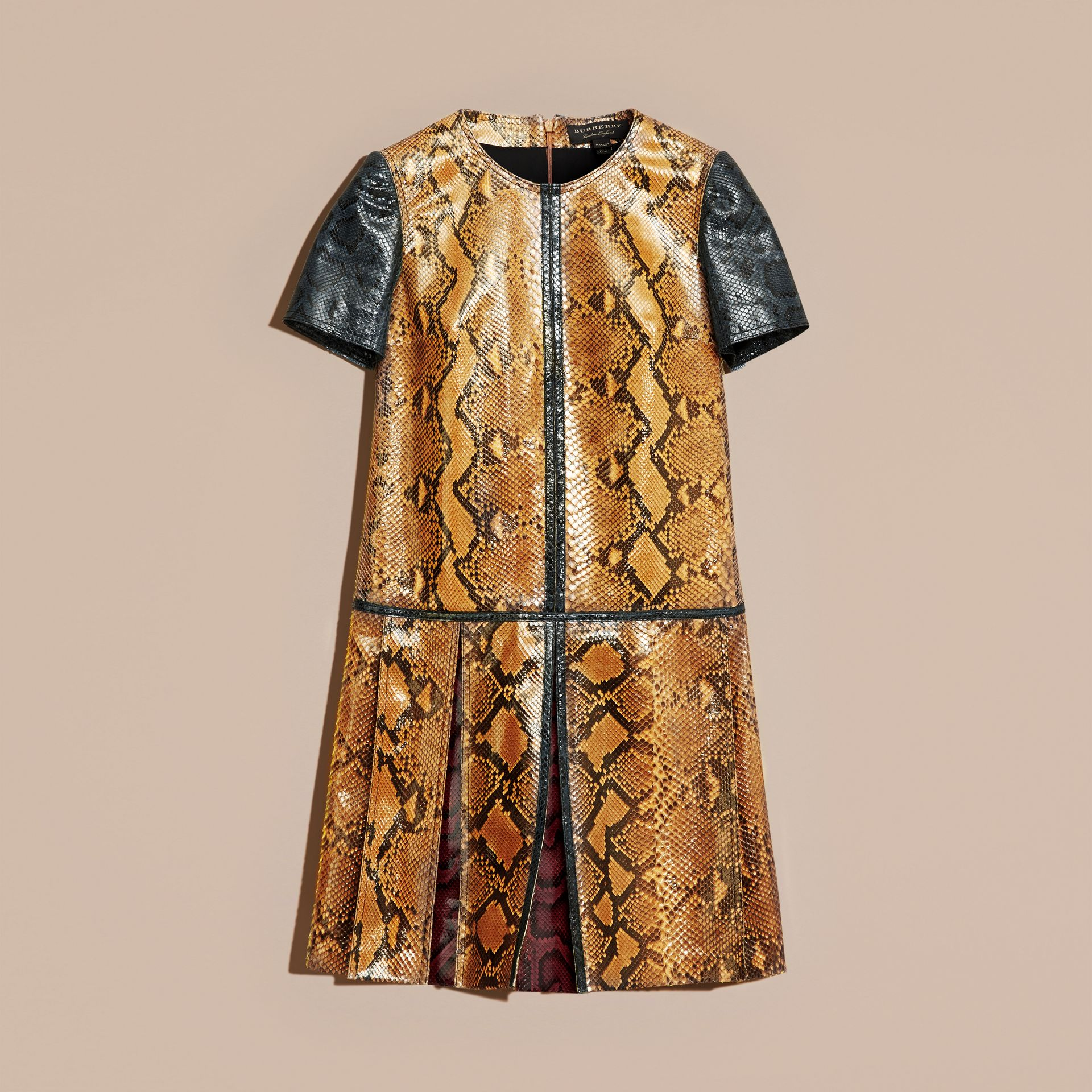 Amber yellow Patchwork Python T-shirt Dress - gallery image 4
