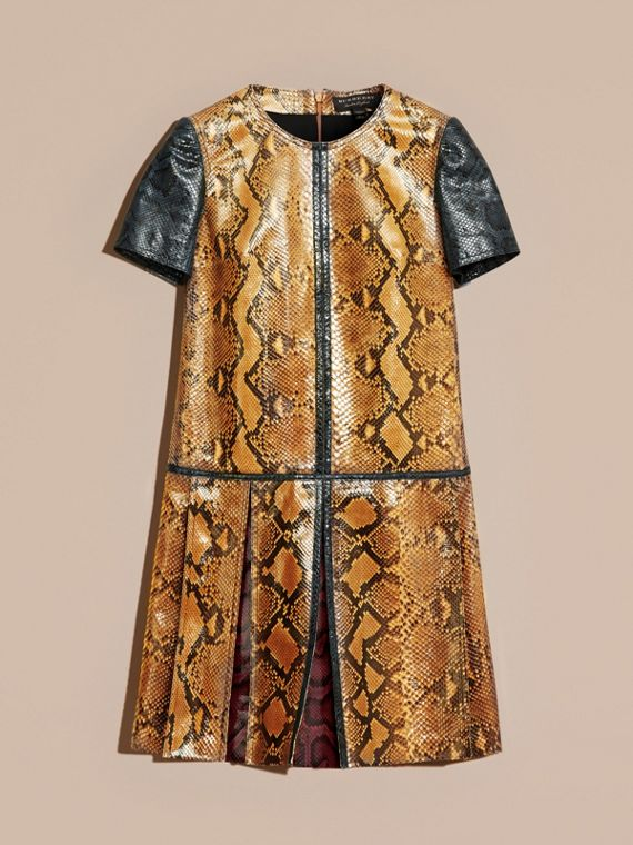 Amber yellow Patchwork Python T-shirt Dress - cell image 3