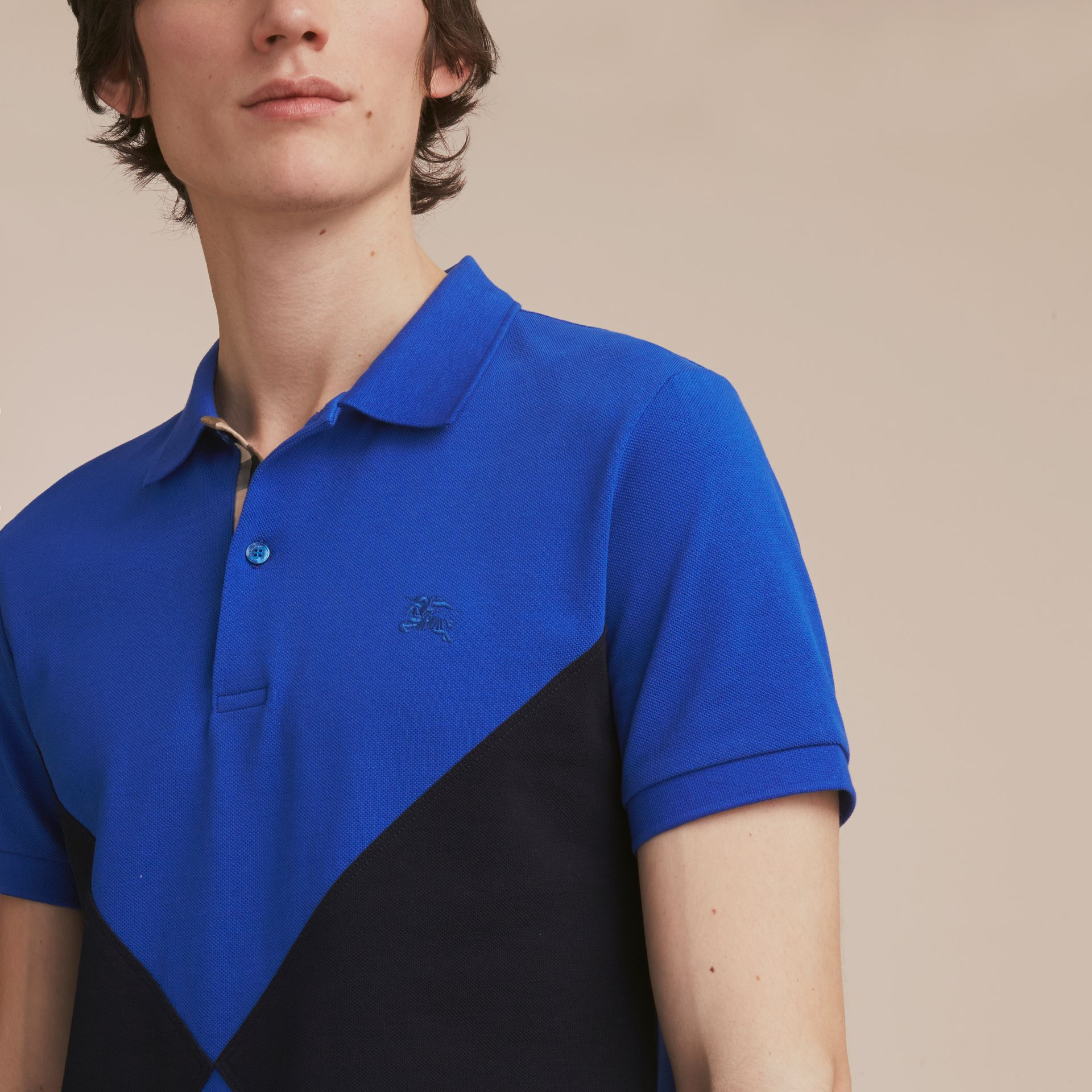 Geometric Motif Cotton Piqué Polo Shirt with Check Placket in Cobalt Blue - gallery image 5