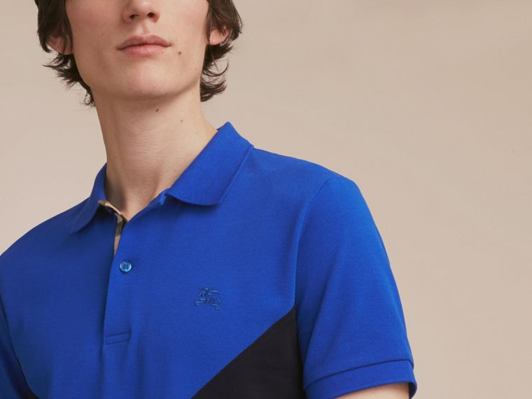 Geometric Motif Cotton Piqué Polo Shirt with Check Placket in Cobalt Blue - cell image 4