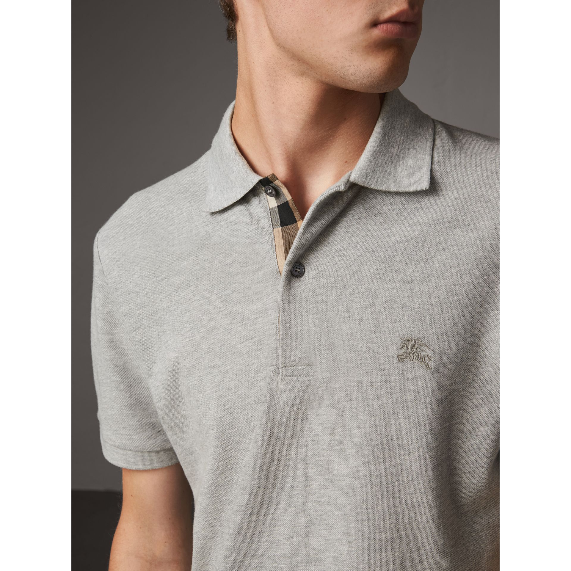 Check Placket Cotton Piqué Polo Shirt in Pale Grey Melange - Men | Burberry - gallery image 1