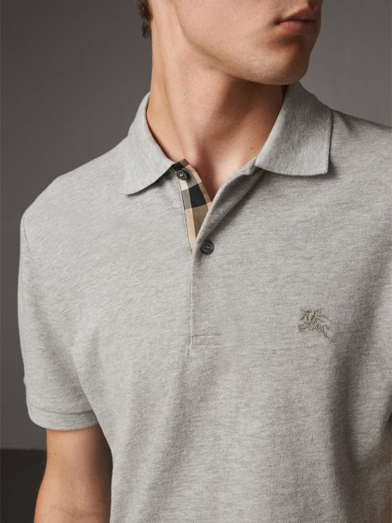 Check Placket Cotton Piqué Polo Shirt in Pale Grey Melange