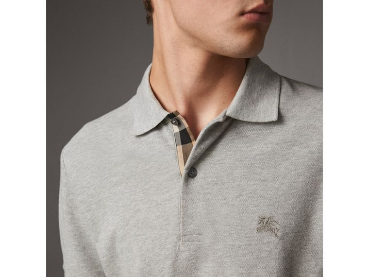 Check Placket Cotton Piqué Polo Shirt in Pale Grey Melange - Men | Burberry - cell image 1