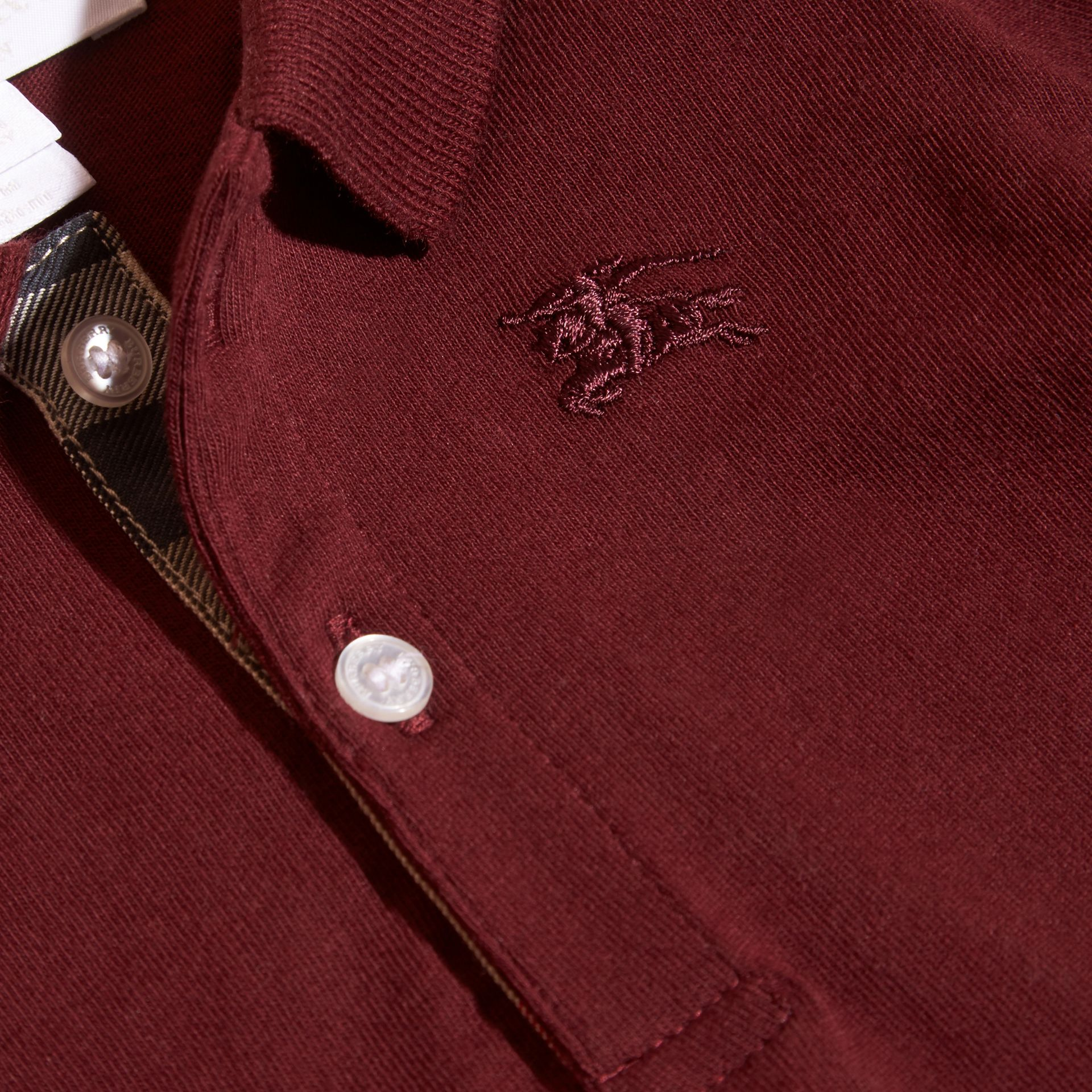 Burgundy red Check Trim Long-sleeved Cotton Polo Shirt Burgundy Red - gallery image 3