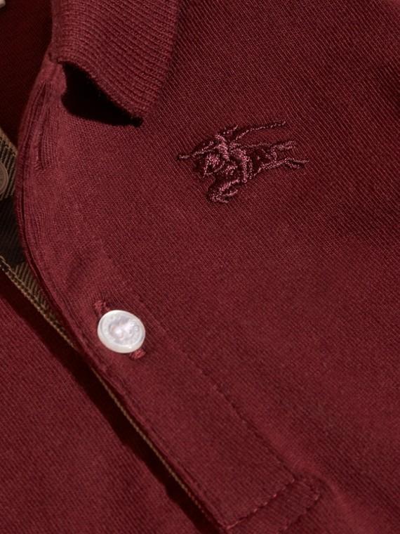 Rouge bourgogne Polo à manches longues en coton avec éléments check Rouge Bourgogne - cell image 2