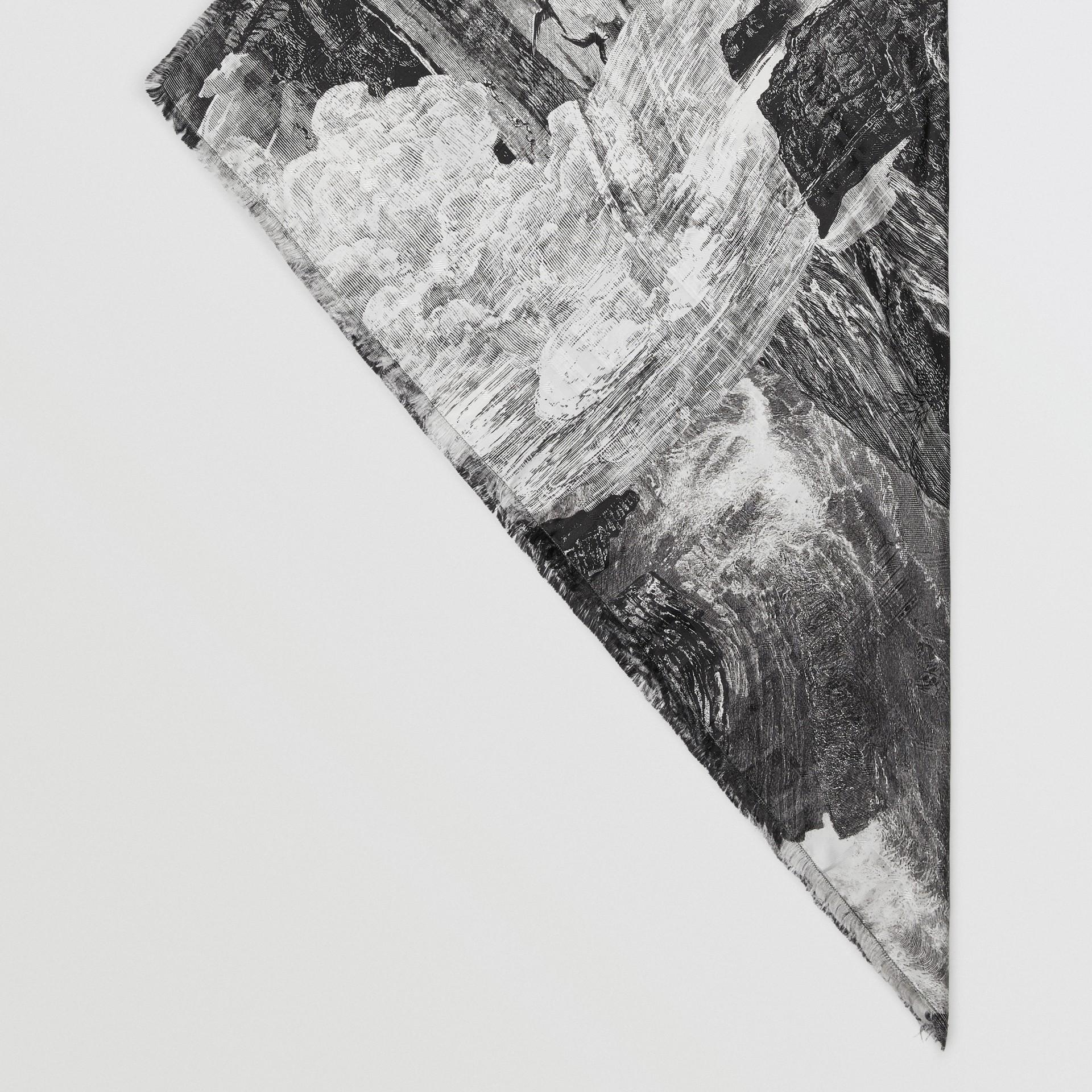 Dreamscape Print Check Silk Jacquard Square Scarf in White | Burberry - gallery image 4