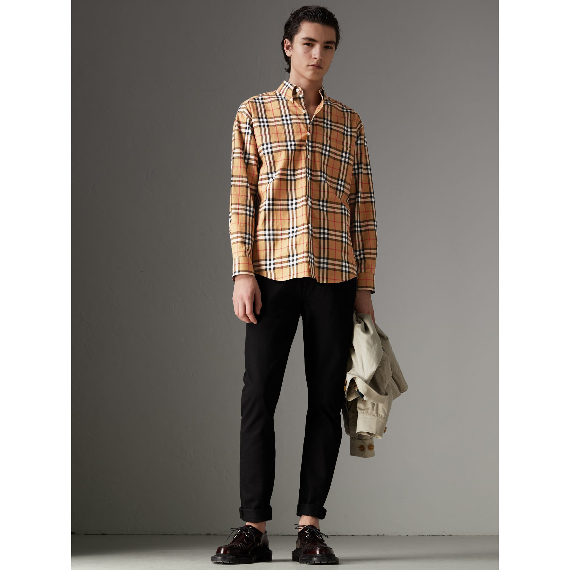 Button-down Collar Vintage Check Cotton Shirt in Antique Yellow - Men | Burberry - gallery image 4