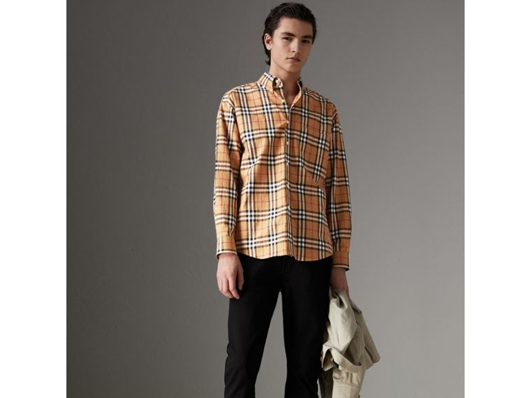 Button-down Collar Vintage Check Cotton Shirt in Antique Yellow - Men | Burberry - cell image 4