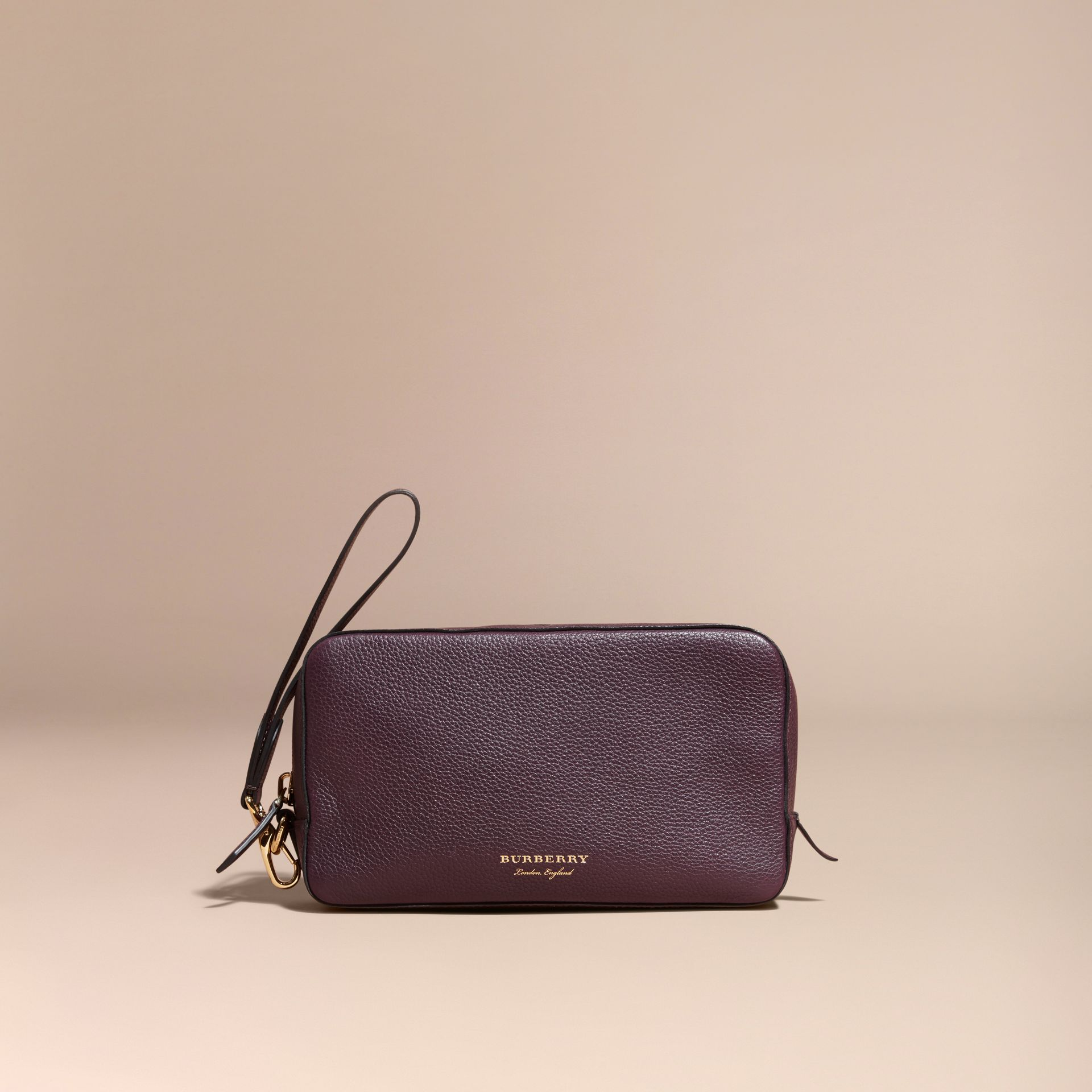 Dark amethyst Grainy Leather Washbag - gallery image 6