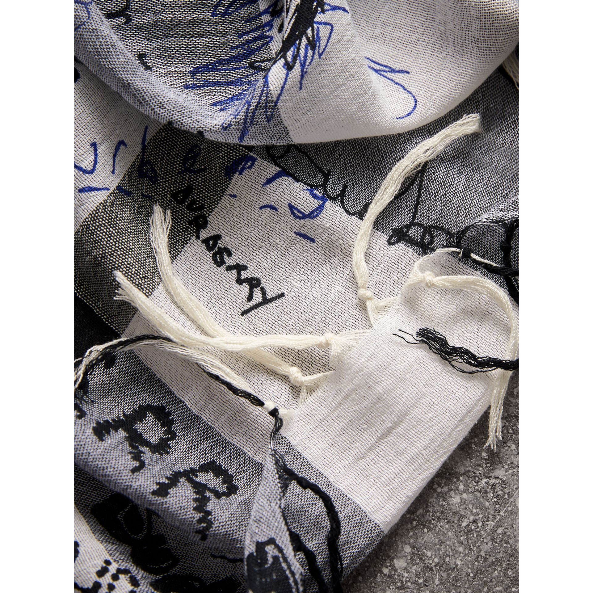 Doodle Print Check Silk Cotton Square Scarf in White/ink Blue | Burberry Singapore - gallery image 1