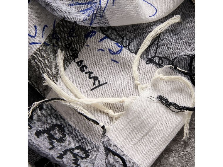 Doodle Print Check Silk Cotton Square Scarf in White/ink Blue | Burberry - cell image 1