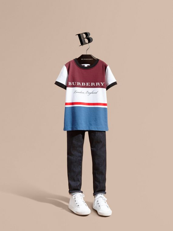 Multi Stripe Cotton T-shirt Claret
