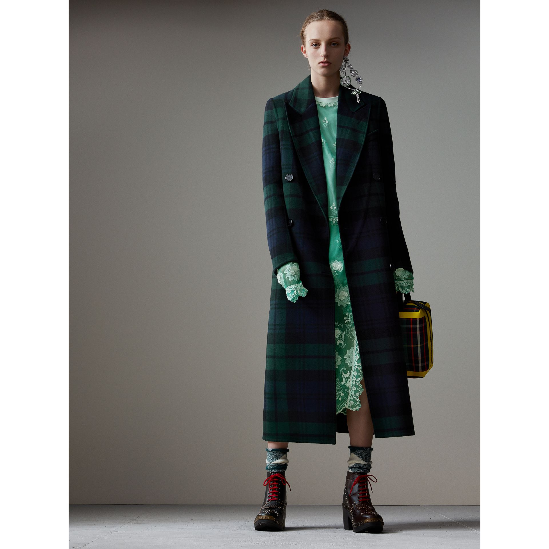 Tartan Double-faced Wool Cashmere Tailored Coat in Midnight Blue/bright Navy - Women | Burberry Australia - gallery image 0