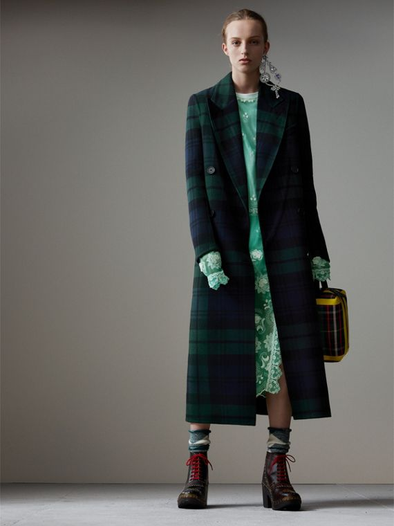 Tartan Double-faced Wool Cashmere Tailored Coat in Midnight Blue/bright Navy