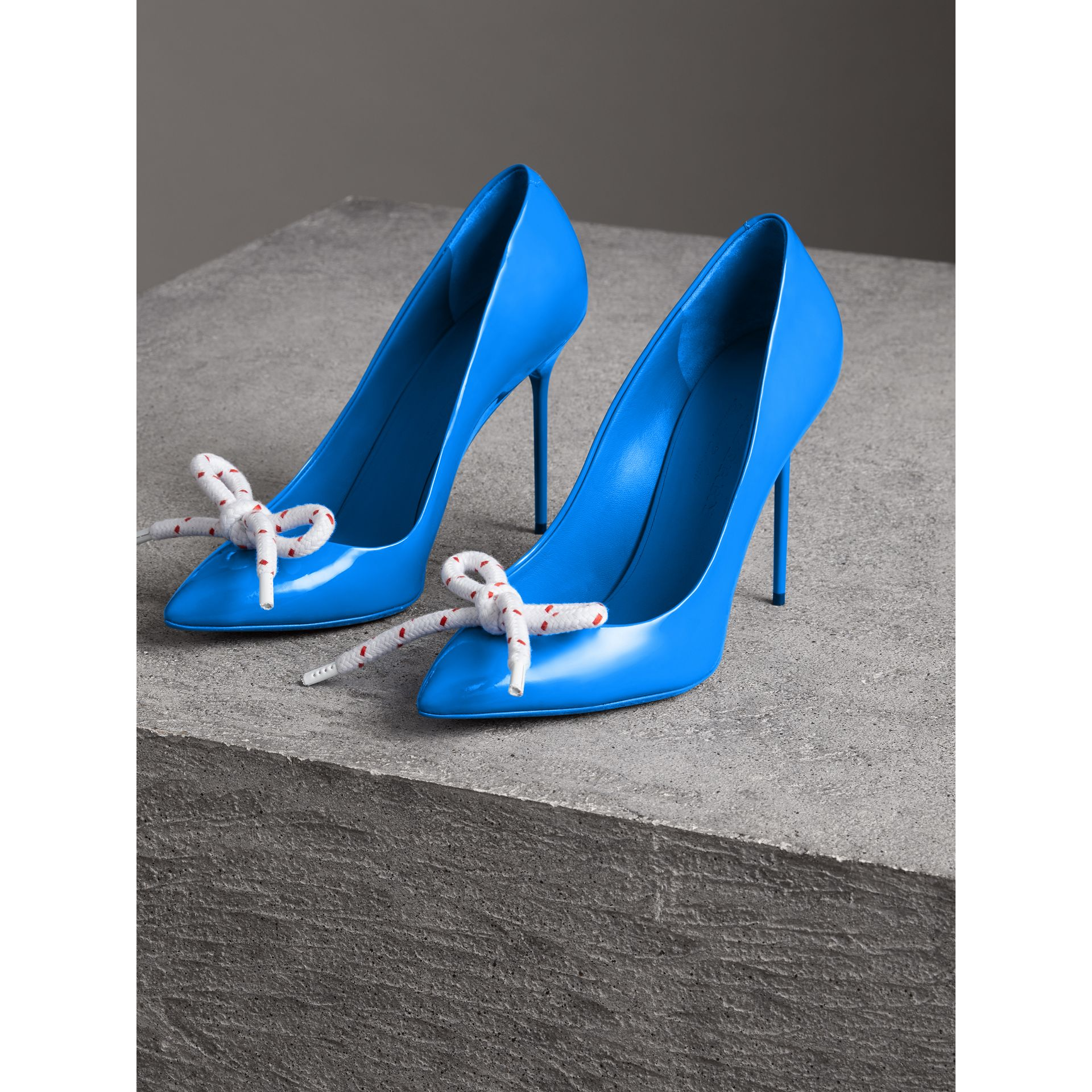 The Patent Leather Rope Stiletto in Blue Azure - Women | Burberry - gallery image 4