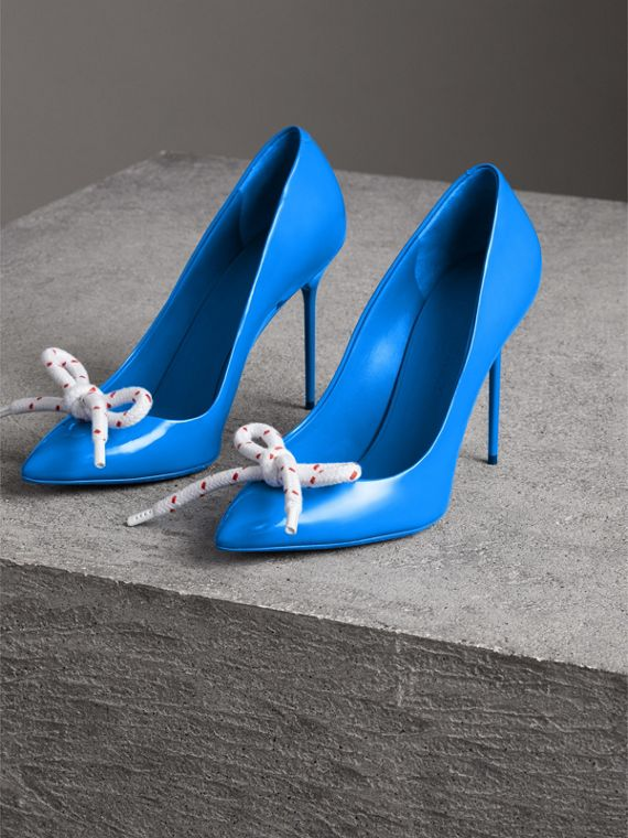 The Patent Leather Rope Stiletto in Blue Azure