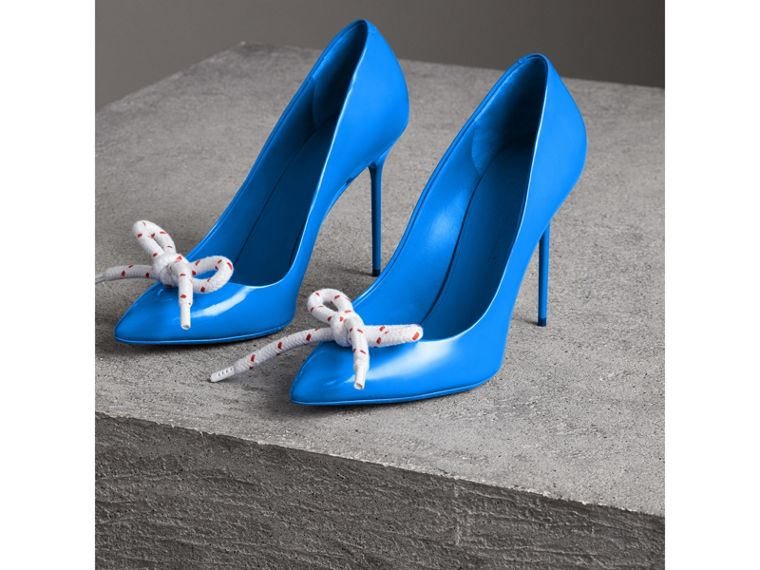 The Patent Leather Rope Stiletto in Blue Azure - Women | Burberry - cell image 4