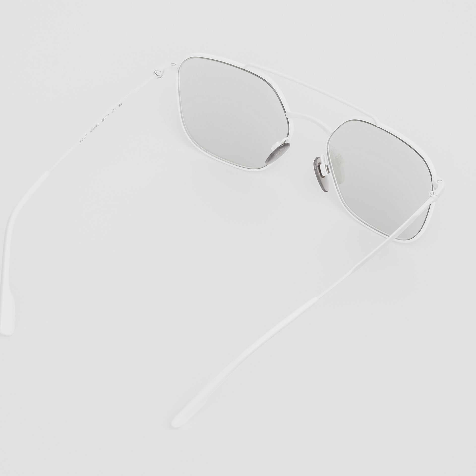 Top Bar Detail Square Pilot Sunglasses in Matt White - Men | Burberry - gallery image 4