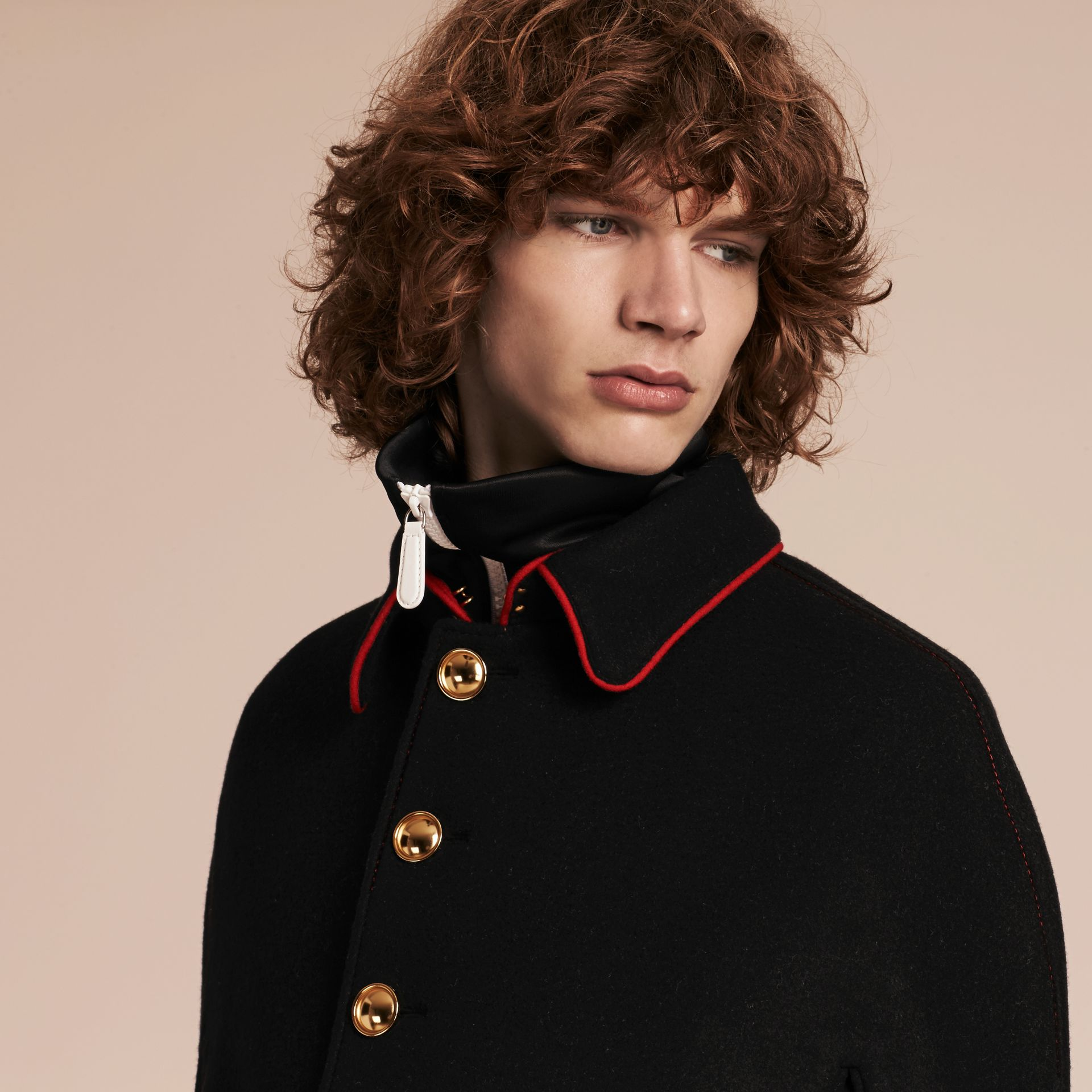 Black Wool Cashmere Blend Military Cape Coat - gallery image 6