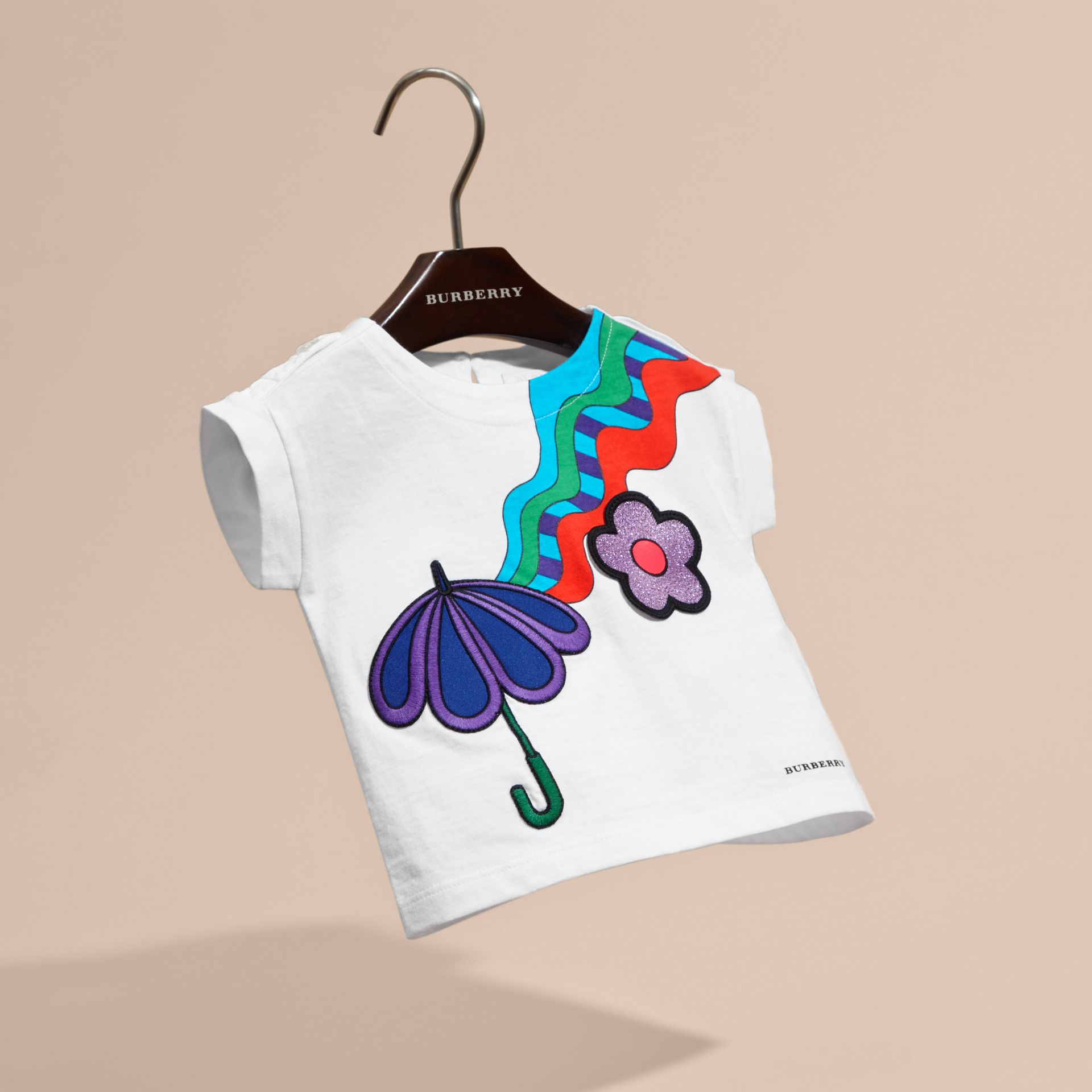 White Graphic Print Cotton T-shirt with Appliqué - gallery image 3