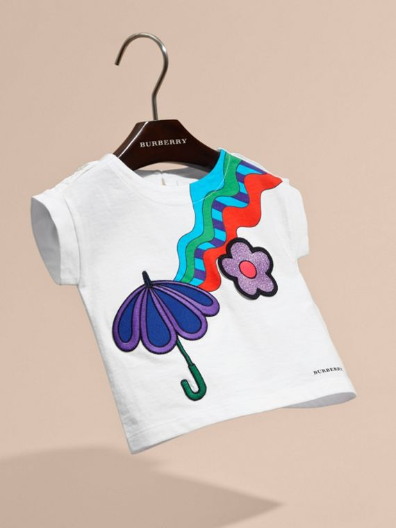 White Graphic Print Cotton T-shirt with Appliqué - cell image 2