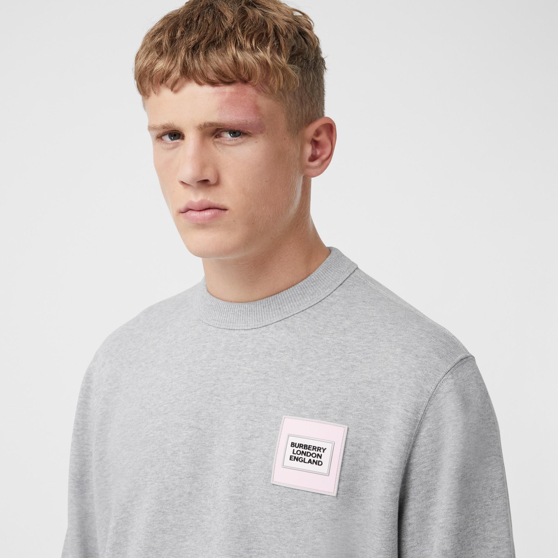 Logo Appliqué Cotton Sweatshirt in Pale Grey Melange - Men | Burberry United Kingdom - gallery image 1