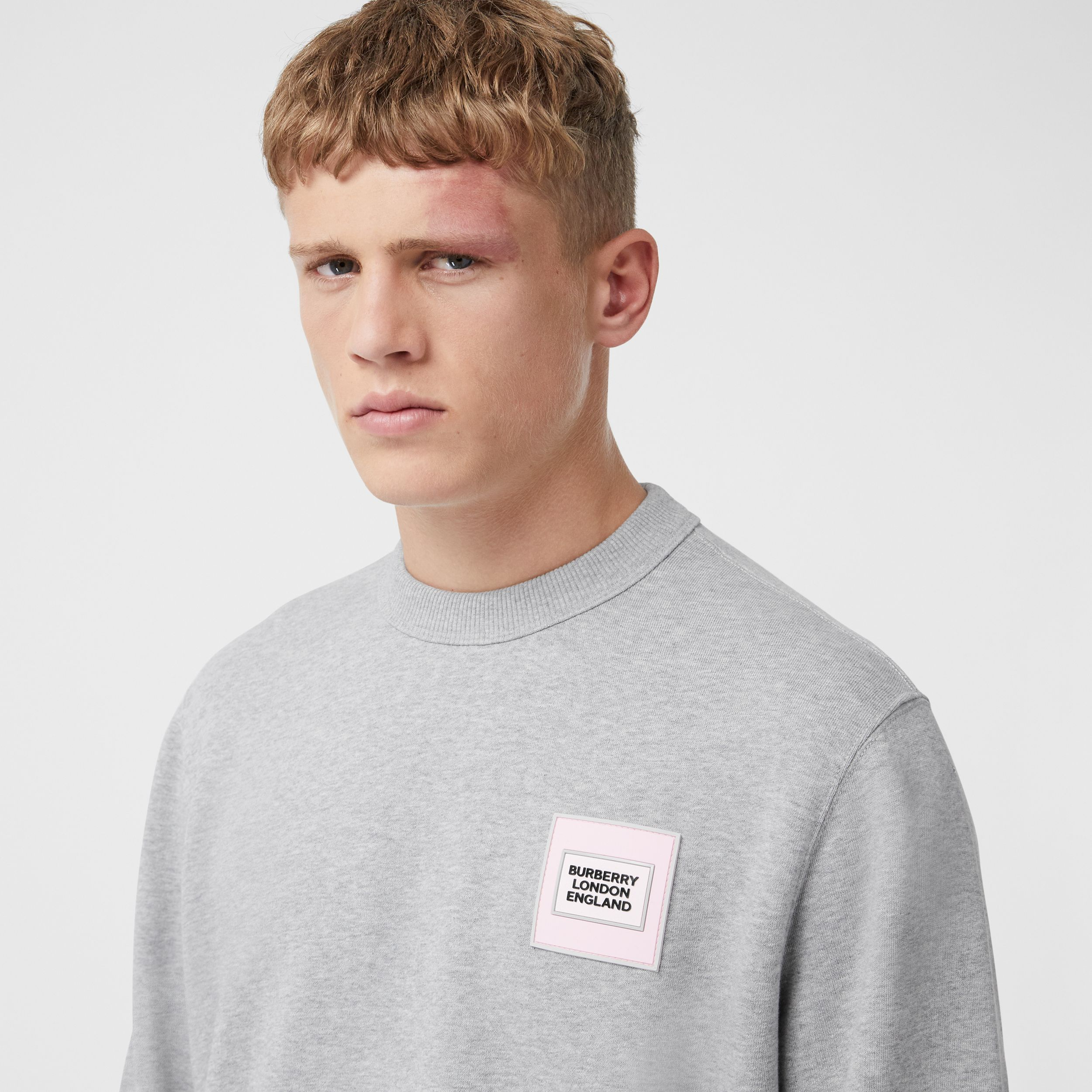 Logo Appliqué Cotton Sweatshirt in Pale Grey Melange - Men | Burberry - 2