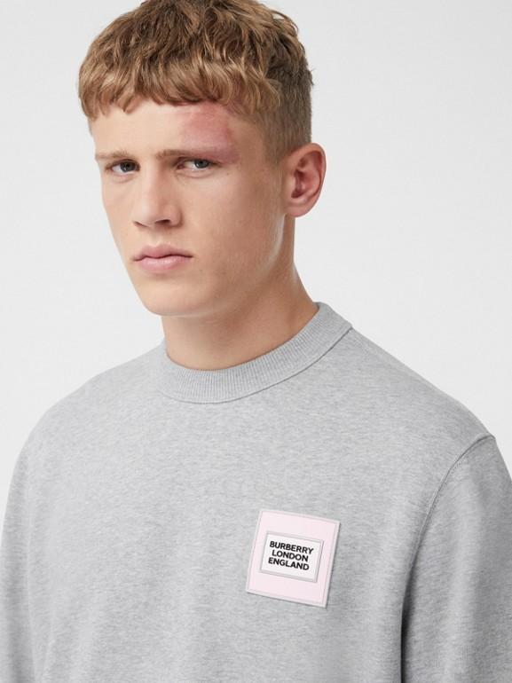 Logo Appliqué Cotton Sweatshirt in Pale Grey Melange - Men | Burberry United Kingdom - cell image 1