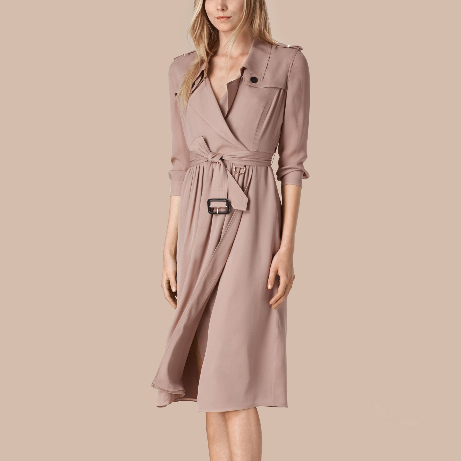 Silk Trench Dress Nude - gallery image 1