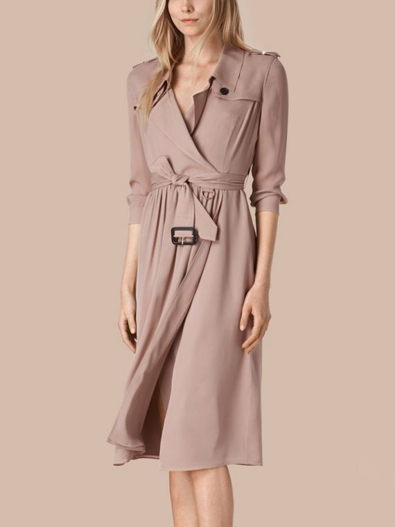 Silk Trench Dress Nude