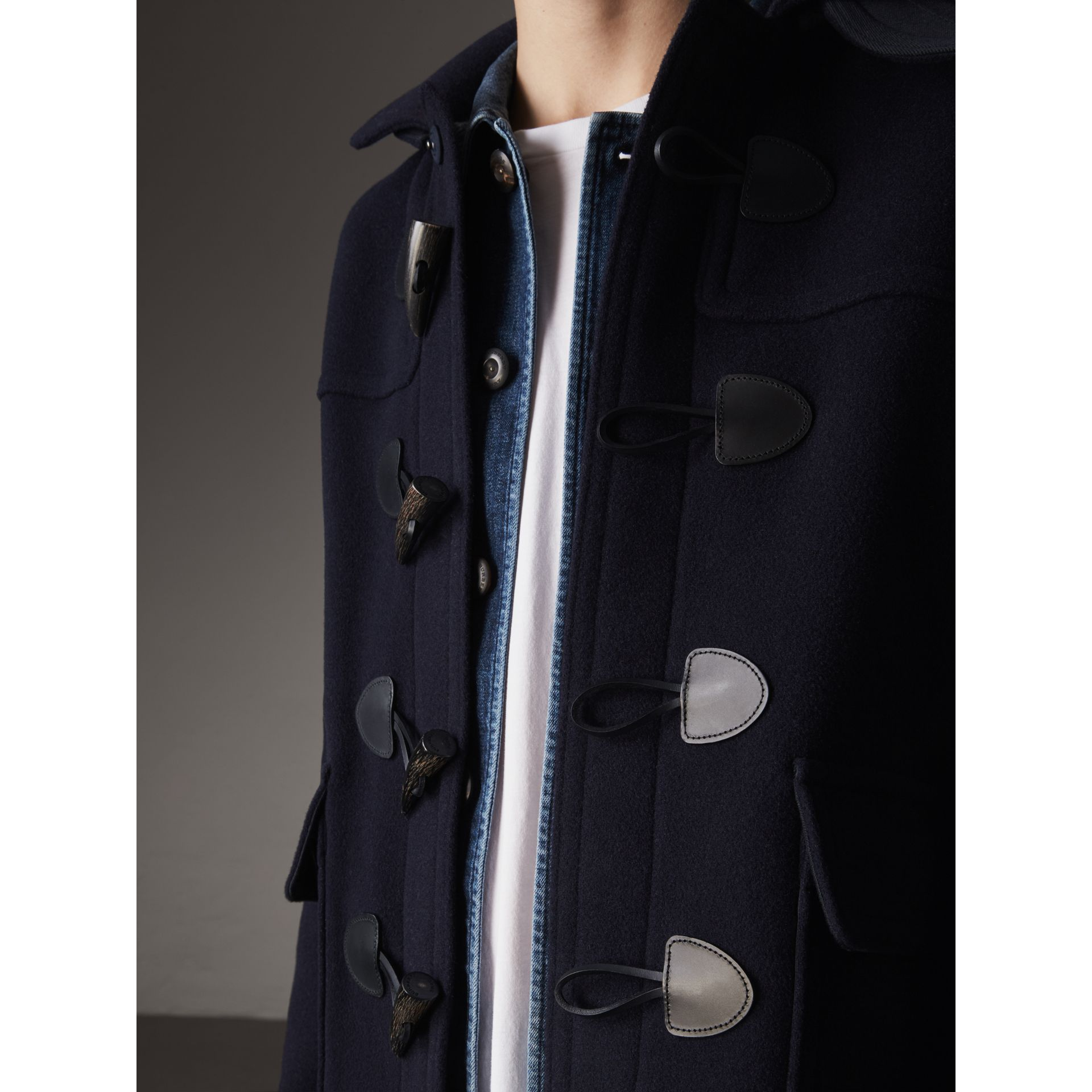 Wool Duffle Jacket with Detachable Hood in Navy - Men | Burberry - gallery image 2