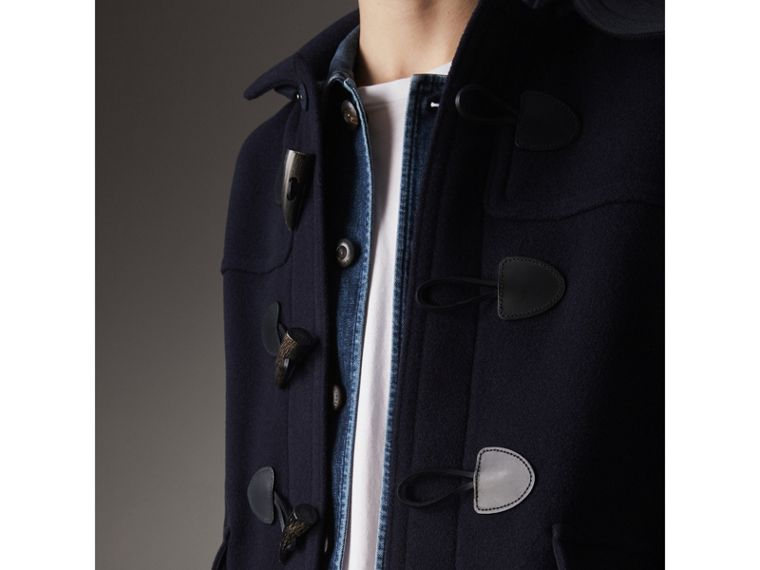 Wool Duffle Jacket with Detachable Hood in Navy - Men | Burberry - cell image 1